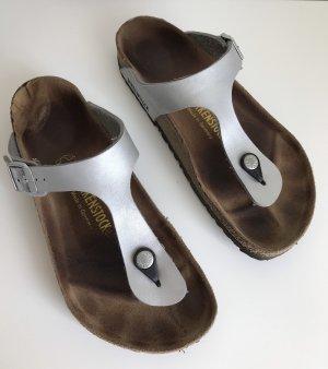 Birkenstock Sandalias cómodas color plata-marrón grisáceo