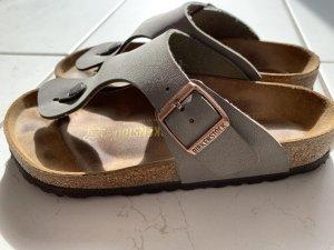 Birkenstock Sandalo toe-post marrone-grigio Pelle