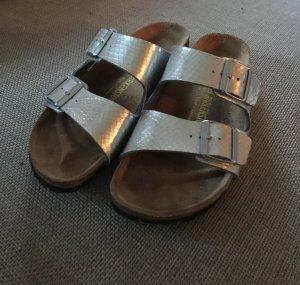 Birkenstock Comfort Sandals silver-colored leather