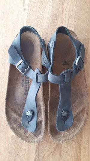 Birkenstock Sandalo toe-post nero-antracite Pelle