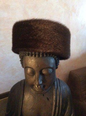 Bisam Fell Mütze dunkelbraun Russischer Zarenstil 56 cm