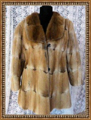 Abrigo de piel amarillo claro-marrón claro Piel