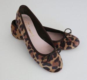 Bisue Schuhe Slipper Leoparden Ballerina braun/beige Fell Gr. 39