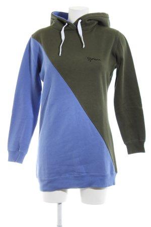 Björkvin Kapuzensweatshirt khaki-blau Schriftzug gestickt Casual-Look