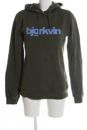 Björkvin Hooded Sweatshirt khaki-blue printed lettering casual look