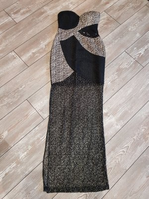 Black and Creme Brocade Dress with Gold detail