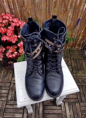 Black Biker Boots Schnürstiefel Schwarz Gold Nieten 39-40