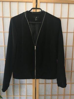 Black Blouson Blazer mit silbernem Reißverschluss
