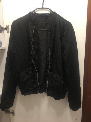 Black Bomber Jacket with Ruffled Sleeves