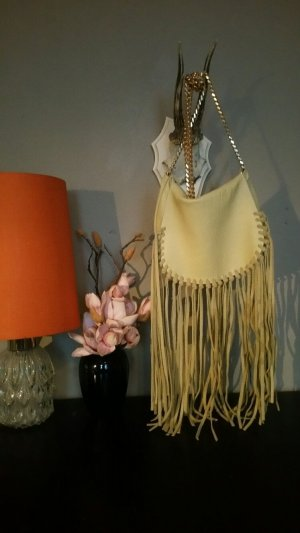Zara Fringed Bag gold-colored leather