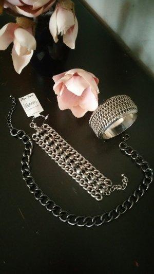 Rockiges Set: Halskette, Armreif & Armband im Set; Statement Schmuck, neu