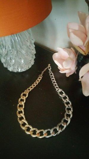 Statementkette Gliederkette, 1/2 silber 1/2 gold, Blogger Style, ZARA neu; Kombiversandidee