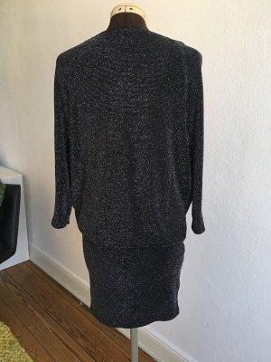 BLACK LILY Kleid schwarz mit silbernen Glitzerpünktchen, Gr.S/M (38/40)
