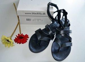 BLACK LILY Leder Sandale Cashmir Sandal Zehentrenner schwarz Gr. 39 NEU