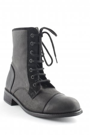 Black Lily Lace-up Boots black biker look