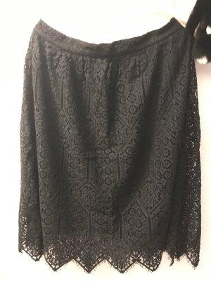 Black midi classic lace skirt