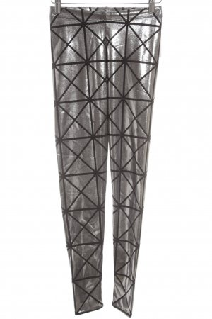 Black Milk Leggings color plata-negro estampado con diseño abstracto brillante