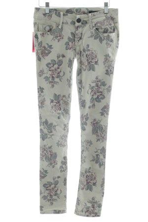 Black Orchid Skinny Jeans light grey-khaki flower pattern casual look