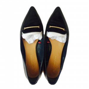 Black Pointy Leather Tommy Hilfiger Flats