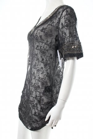 Black Swan Blusa de encaje gris oscuro-taupe tejido mezclado