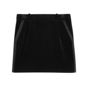 Black Velvet Tuxedo Saint Laurent Mini Skirt