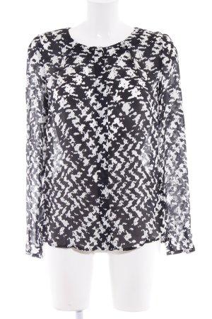 Blacky Dress Langarm-Bluse weiß-schwarz Farbtupfermuster Elegant