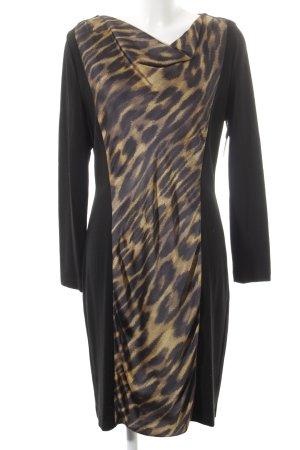 Blacky Dress Langarmkleid schwarz-goldorange Animalmuster extravaganter Stil