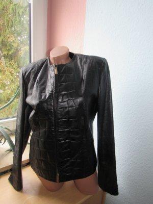BLACKY DRESS | Tolle Leder-Kurzjacke | 40 | schwarz | unregelmäßige Karo-Optik