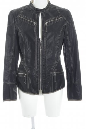 Blacky Dress Between-Seasons Jacket black-cream biker look