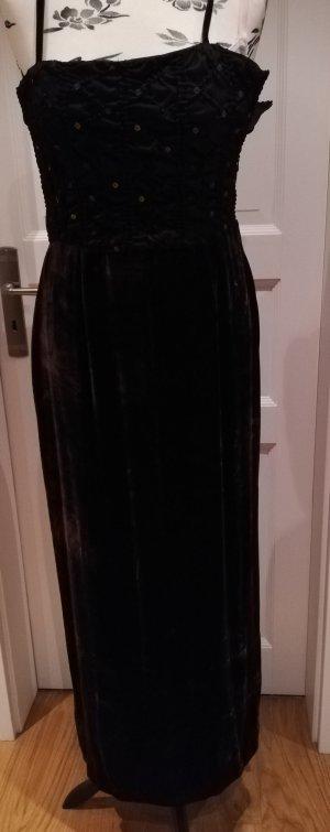 Blacky Dress Vintage Abendkleid Pailetten Samt Corsage dunkelbraun