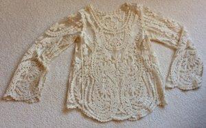 Pull en crochet crème polyester