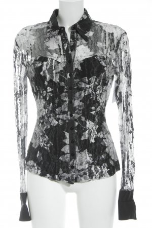 Blanc Nature Transparenz-Bluse schwarz-weiß florales Muster Casual-Look