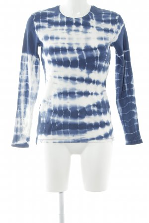 Blanco Jersey largo azul-blanco estampado batik look casual