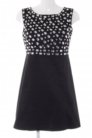 Blanco Mini vestido negro-color plata look Street-Style