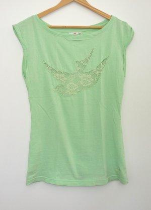 Blassgrünes T-Shirt mit Spitzeneinsatz von Maui wowie