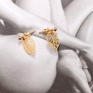 Blatt-Ohrstecker / Ohrhänger gold