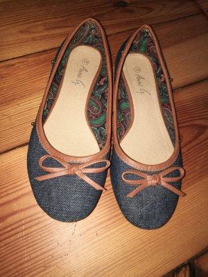 Blau braune Ballerinas aus Jeans 39