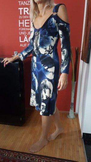Vestido de lana azul-blanco