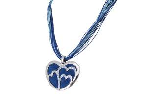 Blau Damen Schmuck Herz Strass Anhänger 4,5cm Kette Halskette 45cm Oktoberfest