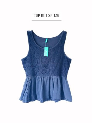 Blau dunkelblau top mit spitze / United Colors of Benetton