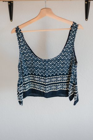 Blau gemustertes Cropped Top