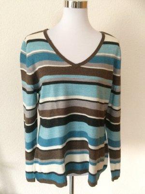 blau, grau, braun gestreiftes Oberteil/Pulli/Pullover von Laura Kent - Gr. 38