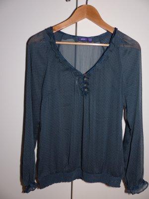blau-graue transparente Bluse