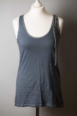 Blau graues Longtop mit Perlen und Tüll NEU von Zara