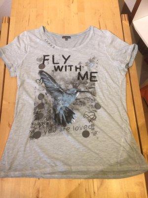blau / graues T-Shirt , Vogelsymbol , Größe 44
