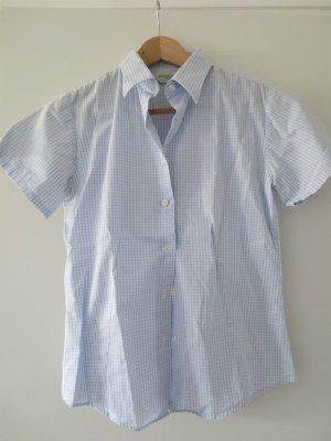 Blau/karrierte Trachten Bluse, kurzarm, Gr. 34, 2x getragen,NEU