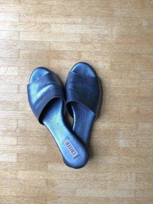 Blau metallic Sandalen Pantoletten Mules Gr. 41