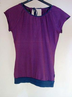 Blau-pink geringeltes Shirt mit breitem Bund - einmal getragen!