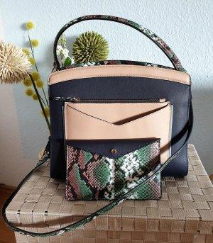 blau-rosé farbige Handtasche, Umhängetasche mit Kroko-Details von Accessorize