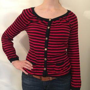 Blau/rot gestreifter Cardigan aus Cashmere/Baumwolle